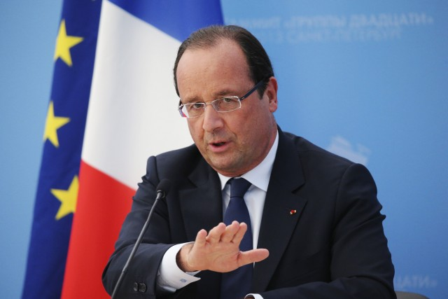 French President Hollande speaks to the media during a news conference at the G20 summit in St. Petersburg