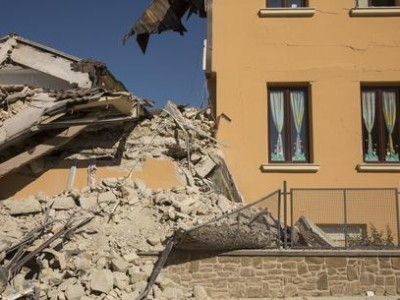 A view of the Romolo Capranica school, partially collapsed after the 24 August devastating earthquake, in the Lazio mountain village of Amatrice, central Italy, 28 August 2016. The Civil Protection Department said on 28 August that the latest provisional death toll from the earthquake in central Italy is 290. ANSA/ ROBERTO SALOMONE