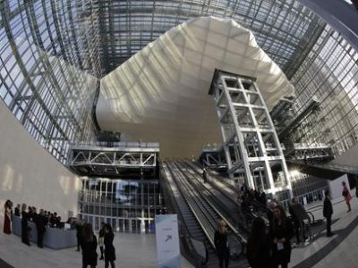 """A view of Italian architect Massimiliano Fuksas' new Rome Congress Center known as """"The Cloud"""", during its inauguration ceremony, in Rome, Saturday, Oct. 29, 2016. (ANSA/AP Photo/Andrew Medichini) [CopyrightNotice: Copyright 2016 The Associated Press. All rights reserved.]"""