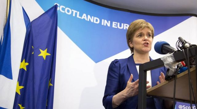 Scotland's First Minister Nicola Sturgeon speaks during a media conference at the Scotland House in Brussels on Wednesday, June 29, 2016. Sturgeon is on a one day visit to Brussels to meet with EU officials. (AP Photo/Geoffroy Van der Hasselt, Pool)