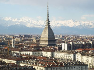 Turin panorama seen from the hill, with Mole Antonelliana (famous ugly wedding cake architecture)