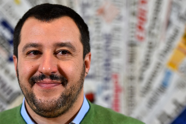 Italian Lega Nord (Northern League) Secretary, Matteo Salvini, speaks during a press conference on December 9, 2015 in Rome.  AFP PHOTO / GABRIEL BOUYS / AFP / GABRIEL BOUYS        (Photo credit should read GABRIEL BOUYS/AFP/Getty Images)
