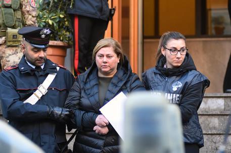 Mariangela Di Trapani, figlia di un capomafia e moglie dello storico boss Salvino Madonia, al momento dell'arresto, Palermo, 05 dicembre 2017. La donna è alla guida del mandamento mafioso palermitano di Resuttana. ANSA/ MIKE PALAZZOTTO