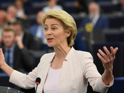 epa07719766 German Defense Minister Ursula von der Leyen and nominated President of the European Commission delivers her statement at the European Parliament in Strasbourg, France, 16 July 2019.  EPA/PATRICK SEEGER