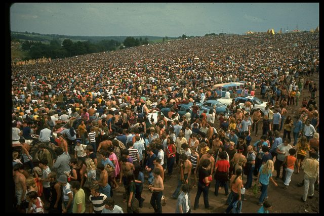 NEW YORK, UNITED STATES - AUGUST 1969:  Overall of the huge crowd, looking towards large yellow tents, during the Woodstock Music & Art Fair.  (Photo by John Dominis/The LIFE Picture Collection via Getty Images/Getty Images)